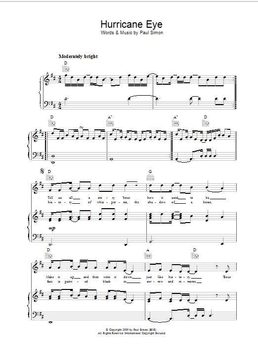 Paul Simon Hurricane Eye sheet music notes printable PDF score