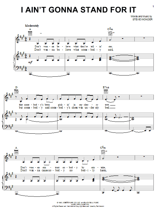 Stevie Wonder I Ain't Gonna Stand For It sheet music notes printable PDF score