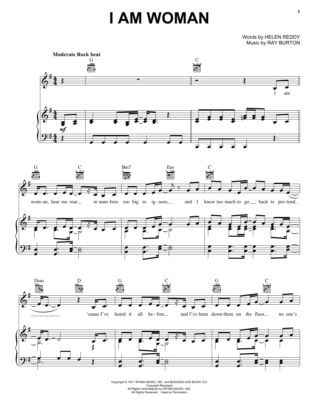 Helen Reddy I Am Woman sheet music notes printable PDF score