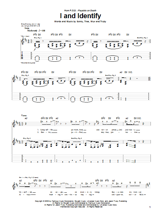 P.O.D. (Payable On Death) I And Identify sheet music notes printable PDF score