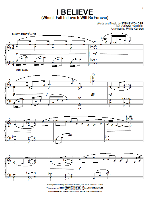Stevie Wonder I Believe (When I Fall In Love It Will Be Forever) sheet music notes printable PDF score