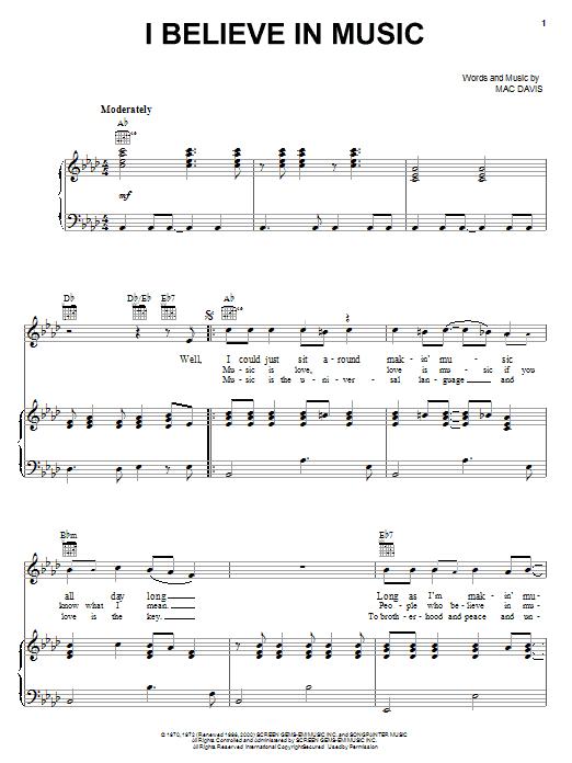 Mac Davis I Believe In Music sheet music notes printable PDF score