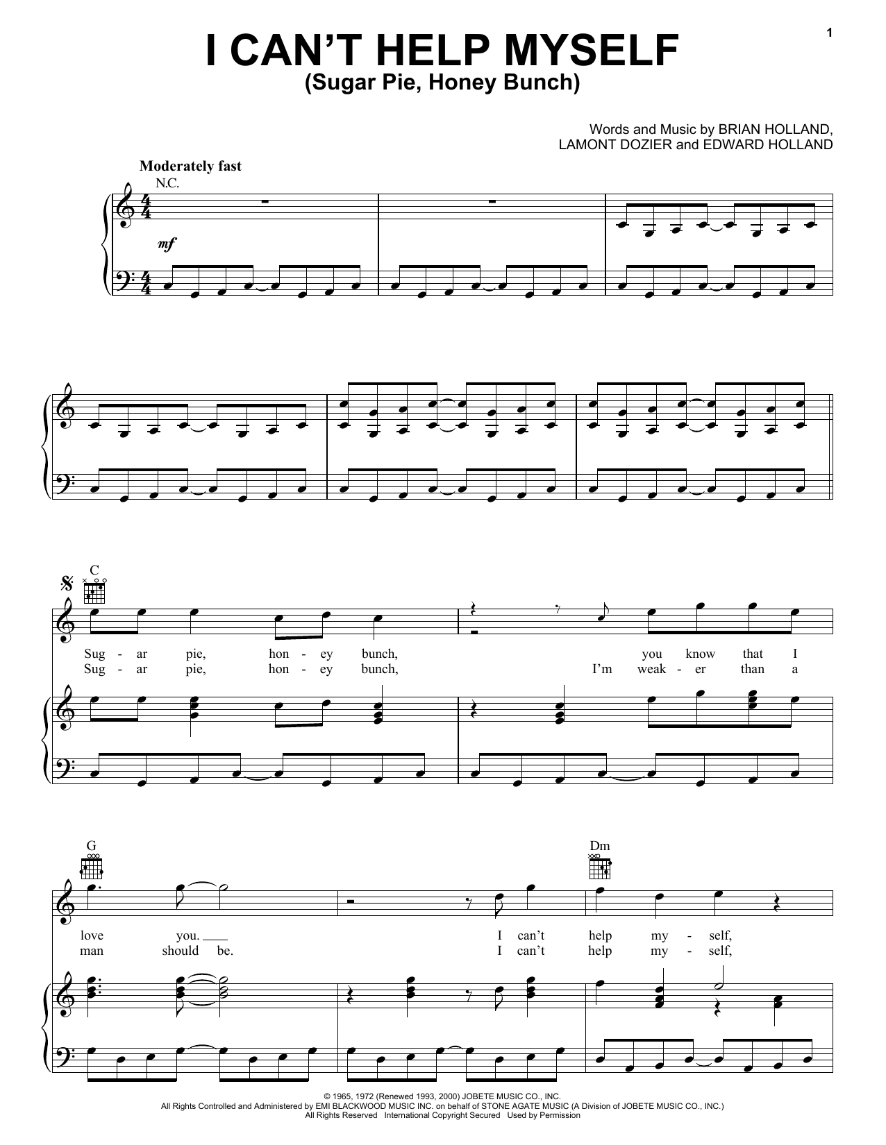 The Four Tops I Can't Help Myself (Sugar Pie, Honey Bunch) sheet music notes printable PDF score