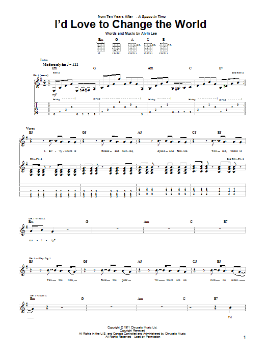 Ten Years After I'd Love To Change The World sheet music notes printable PDF score
