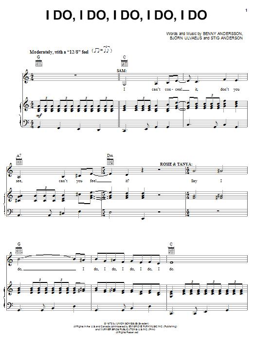 ABBA I Do, I Do, I Do, I Do, I Do sheet music notes printable PDF score
