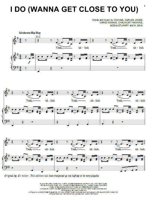 3LW I Do (Wanna Get Close To You) (feat. P. Diddy & Loon) sheet music notes printable PDF score