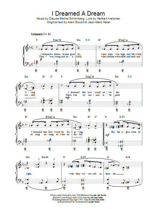 Alain Boublil I Dreamed A Dream (from Les Miserables) sheet music notes printable PDF score