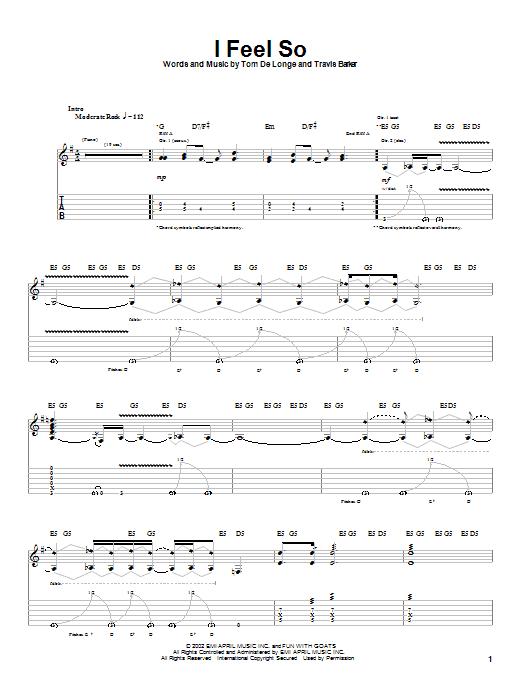 Box Car Racer I Feel So sheet music notes printable PDF score
