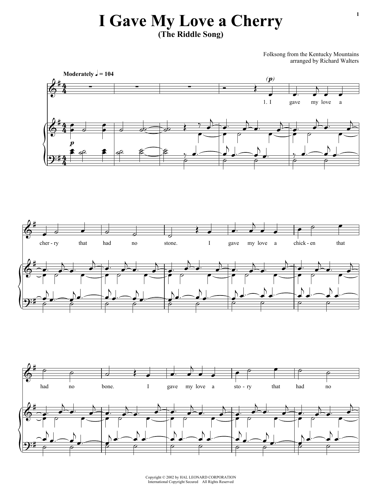 Traditional I Gave My Love A Cherry (The Riddle Song) sheet music notes printable PDF score
