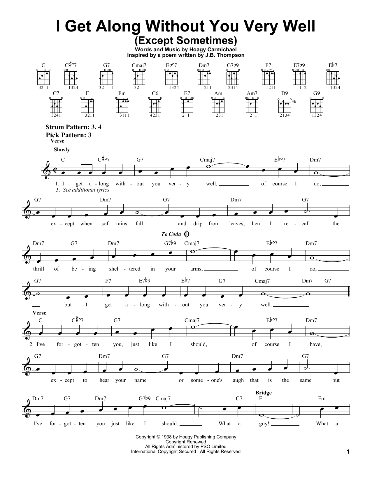 Hoagy Carmichael I Get Along Without You Very Well (Except Sometimes) sheet music notes printable PDF score