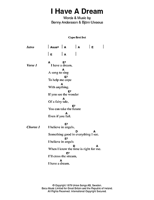 ABBA I Have A Dream sheet music notes printable PDF score