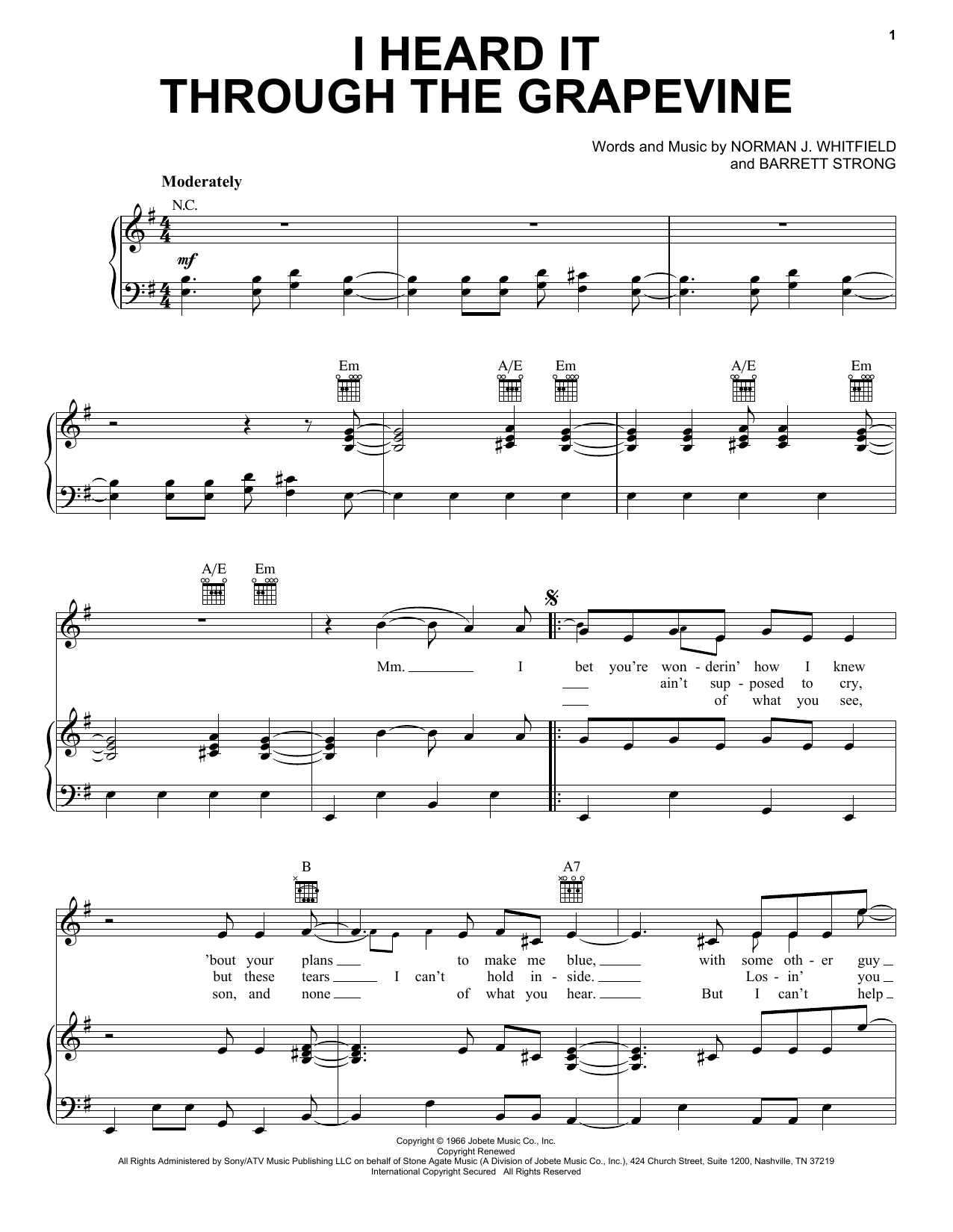 Marvin Gaye I Heard It Through The Grapevine sheet music notes printable PDF score