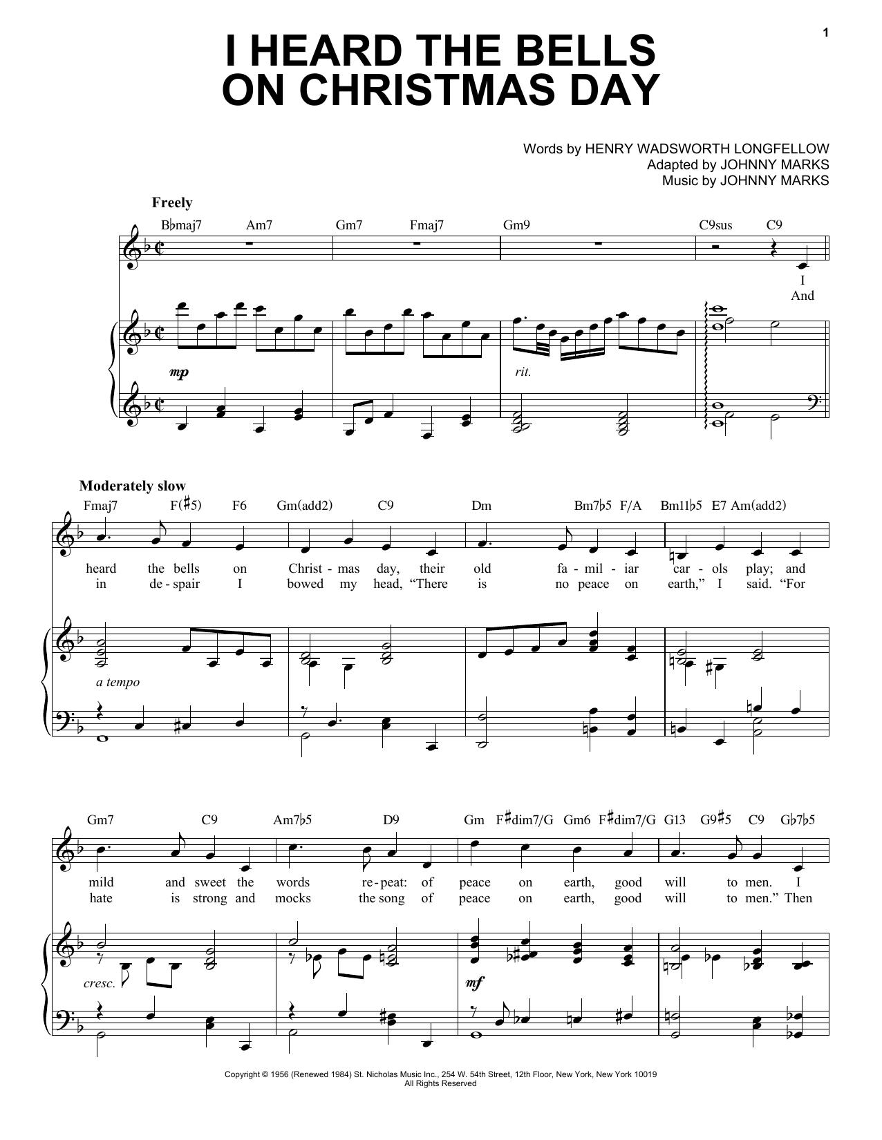 Johnny Marks I Heard The Bells On Christmas Day [Jazz Version] (arr. Brent Edstrom) sheet music notes printable PDF score