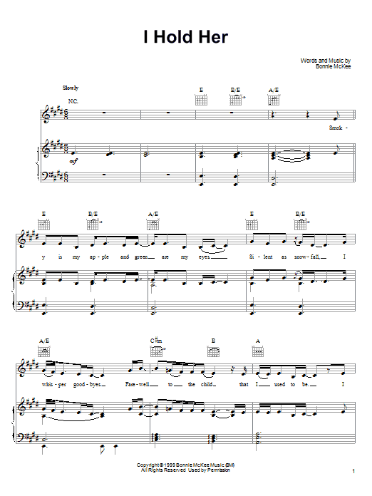 Bonnie McKee I Hold Her sheet music notes printable PDF score