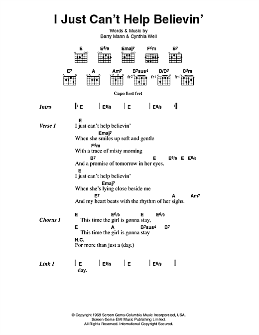 Elvis Presley I Just Can't Help Believin' sheet music notes printable PDF score