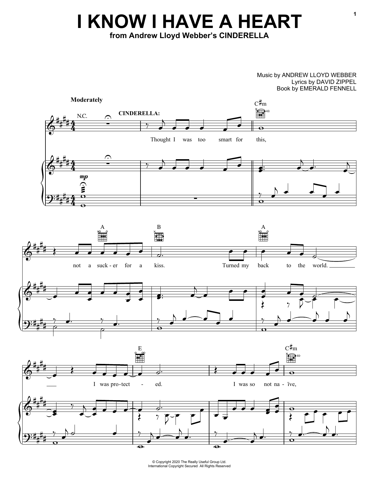 Andrew Lloyd Webber I Know I Have A Heart (from Andrew Lloyd Webber's Cinderella) sheet music notes printable PDF score