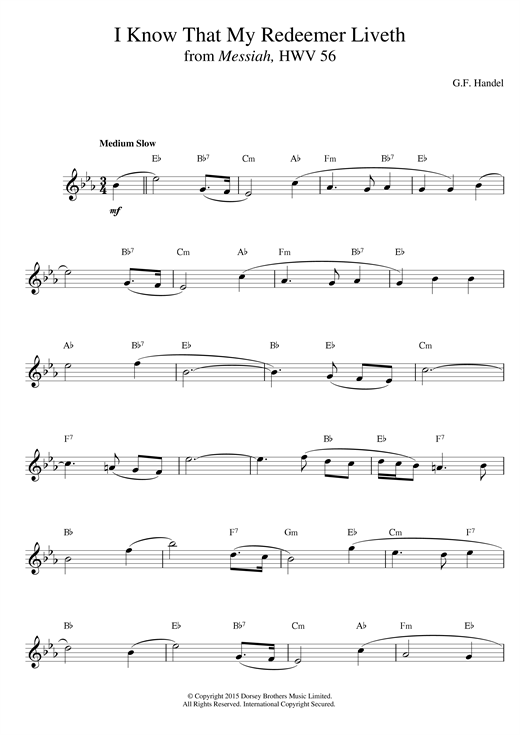 George Frideric Handel I Know That My Redeemer Liveth (from Messiah) sheet music notes printable PDF score