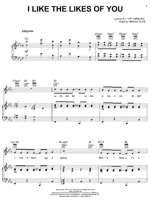 Liza Minnelli I Like The Likes Of You sheet music notes printable PDF score