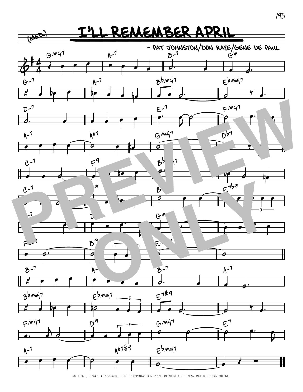 Woody Herman & His Orchestra I'll Remember April [Reharmonized version] (arr. Jack Grassel) sheet music notes printable PDF score