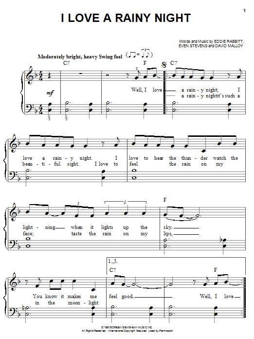 Eddie Rabbitt I Love A Rainy Night sheet music notes printable PDF score