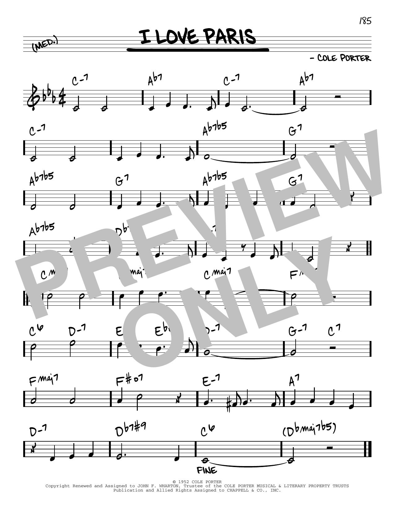 Cole Porter I Love Paris [Reharmonized version] (arr. Jack Grassel) sheet music notes printable PDF score