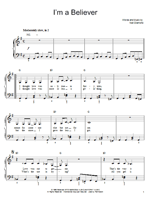 Smash Mouth I'm A Believer sheet music notes printable PDF score