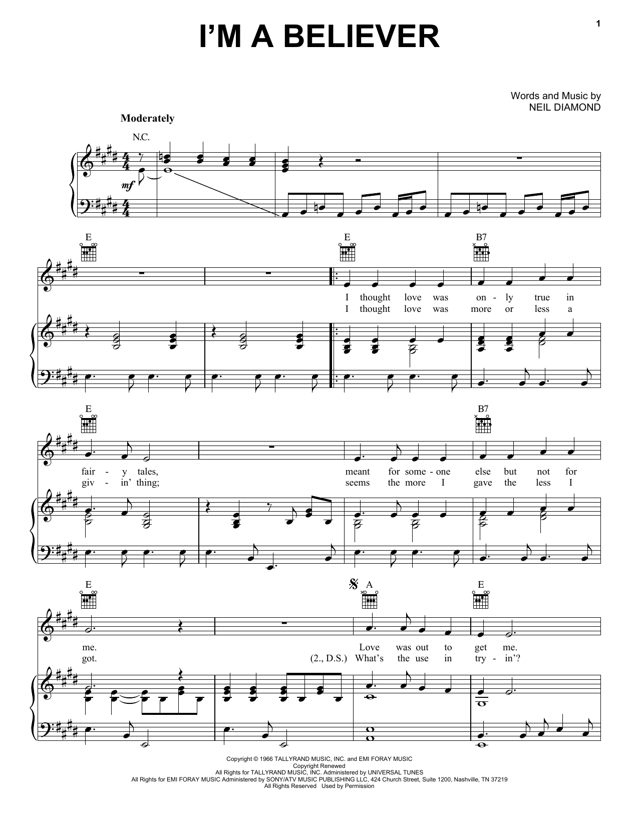 The Monkees I'm A Believer sheet music notes printable PDF score