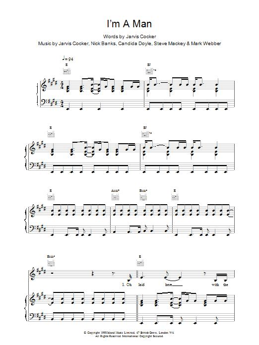 Pulp I'm A Man sheet music notes printable PDF score