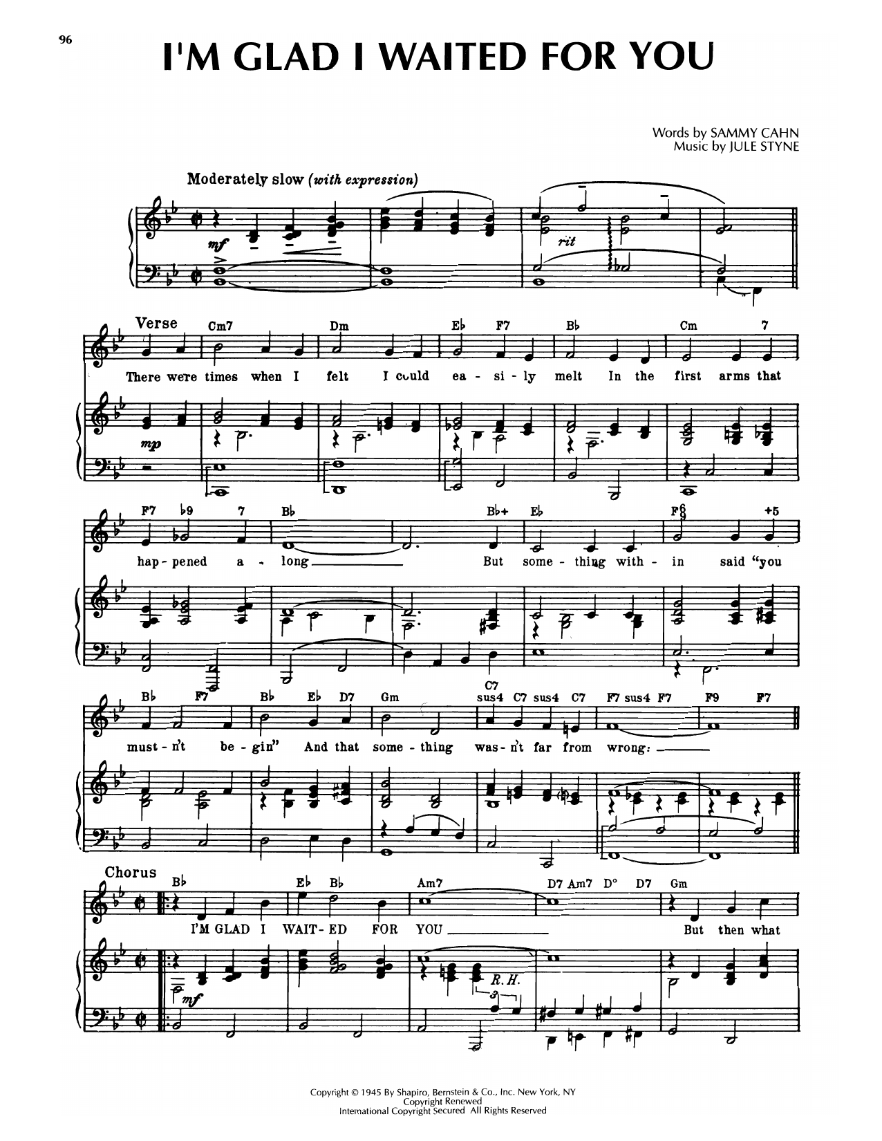 Sammy Cahn & Jule Styne I'm Glad I Waited For You (from Tars And Spars) sheet music notes printable PDF score
