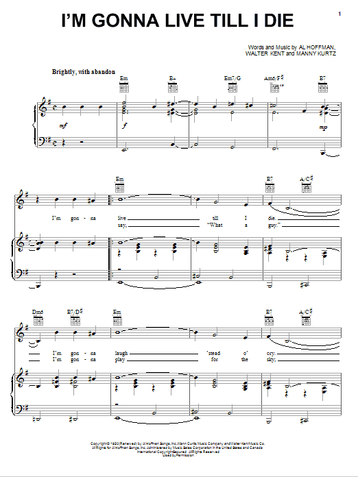 Frank Sinatra I'm Gonna Live Till I Die sheet music notes printable PDF score