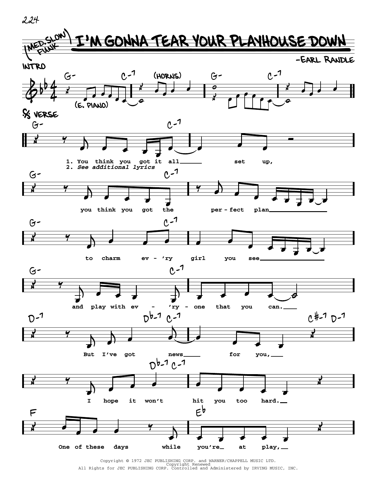 Earl Randle I'm Gonna Tear Your Playhouse Down sheet music notes printable PDF score
