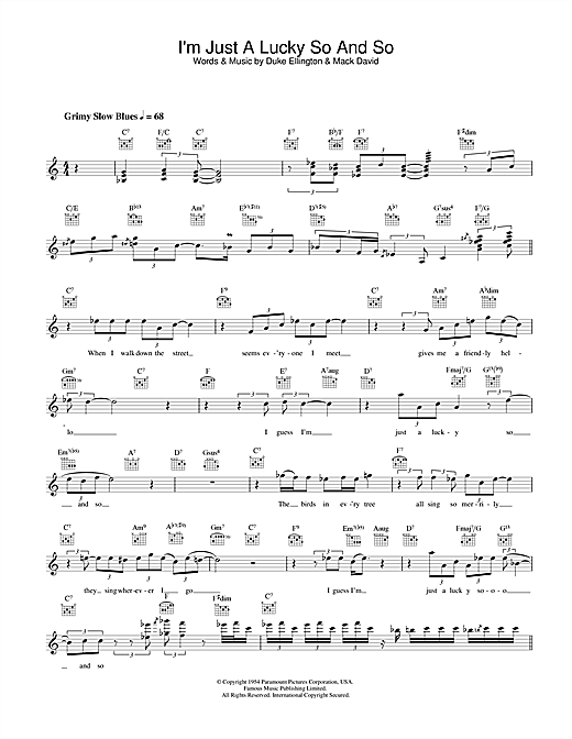 Diana Krall I'm Just A Lucky So And So sheet music notes printable PDF score