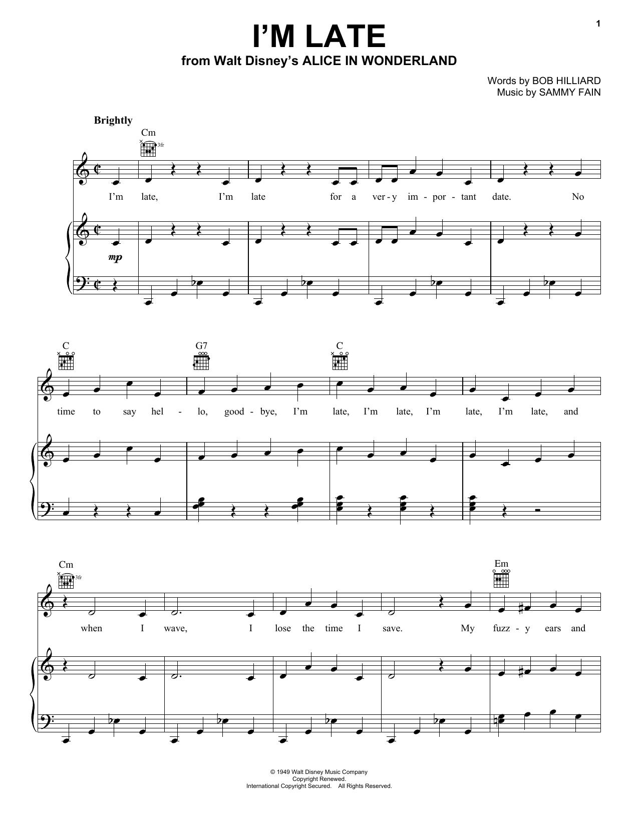 Sammy Fain I'm Late sheet music notes printable PDF score