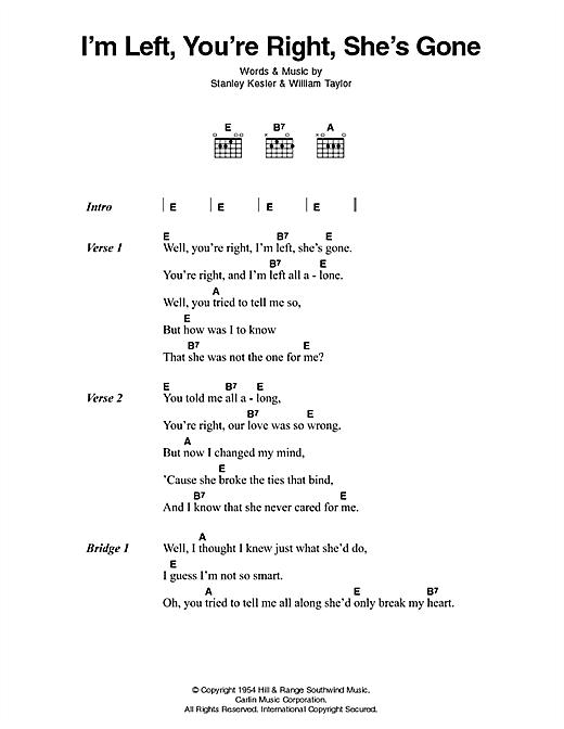 Elvis Presley I'm Left, You're Right, She's Gone sheet music notes printable PDF score