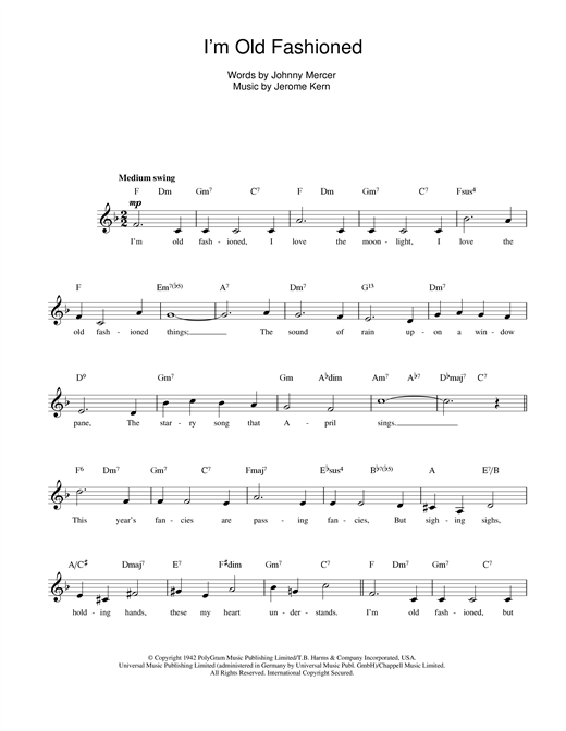 Jerome Kern I'm Old Fashioned sheet music notes printable PDF score