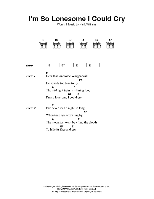 Hank Williams I'm So Lonesome I Could Cry sheet music notes printable PDF score