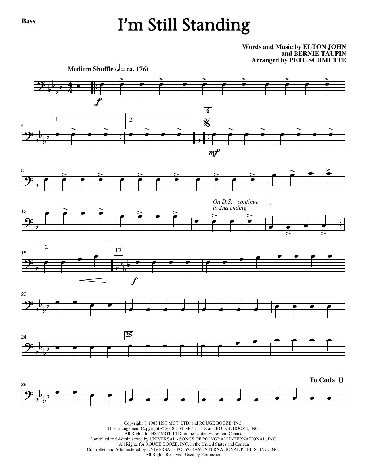 Elton John I'm Still Standing (arr. Pete Schmutte) - Bass sheet music notes printable PDF score