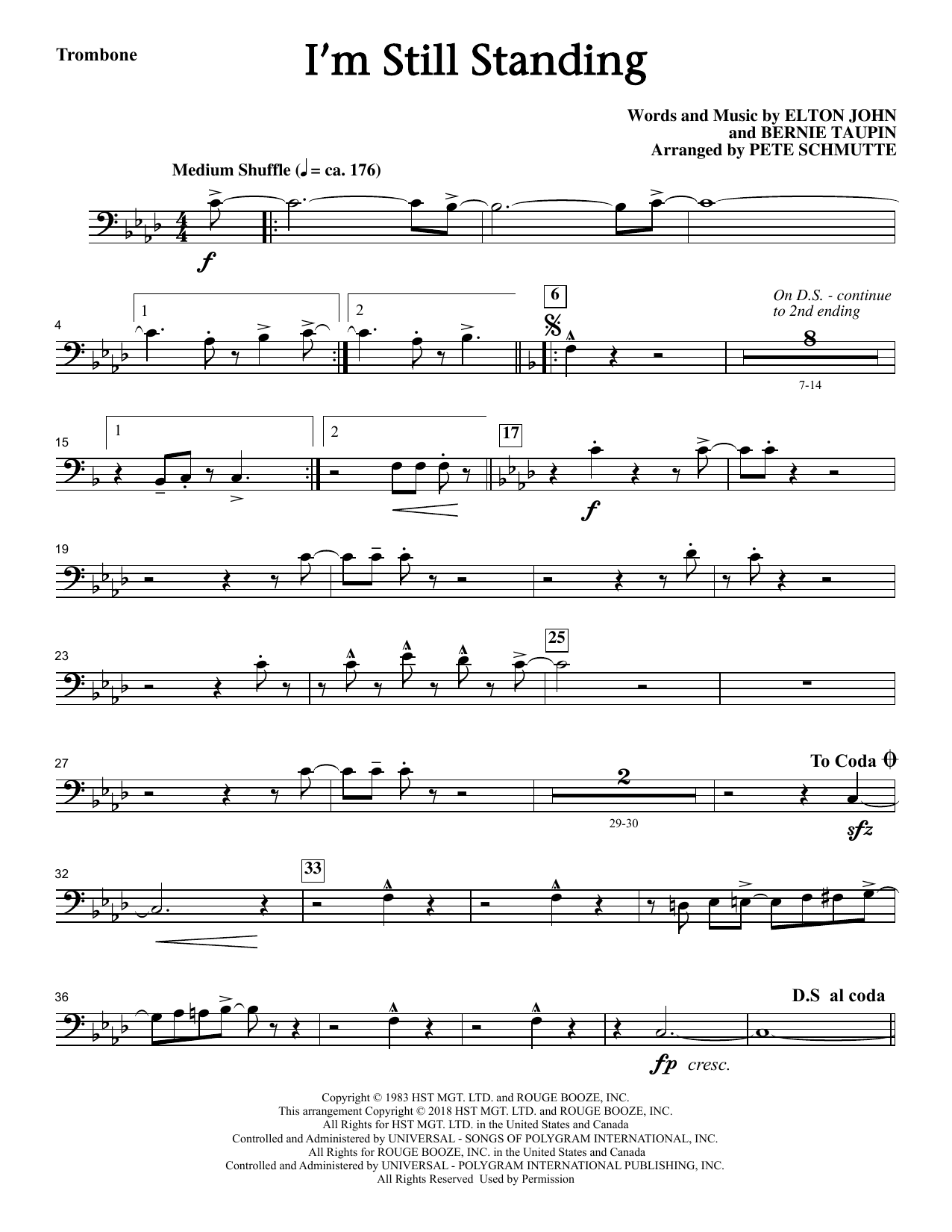 Elton John I'm Still Standing (arr. Pete Schmutte) - Trombone sheet music notes printable PDF score