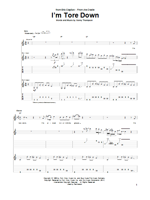 Eric Clapton I'm Tore Down sheet music notes printable PDF score