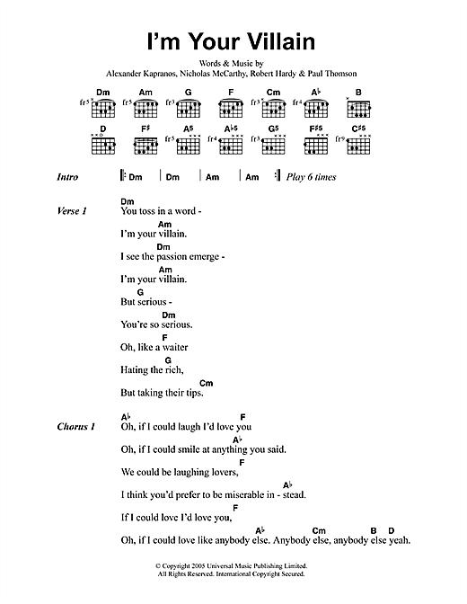 Franz Ferdinand I'm Your Villain sheet music notes printable PDF score