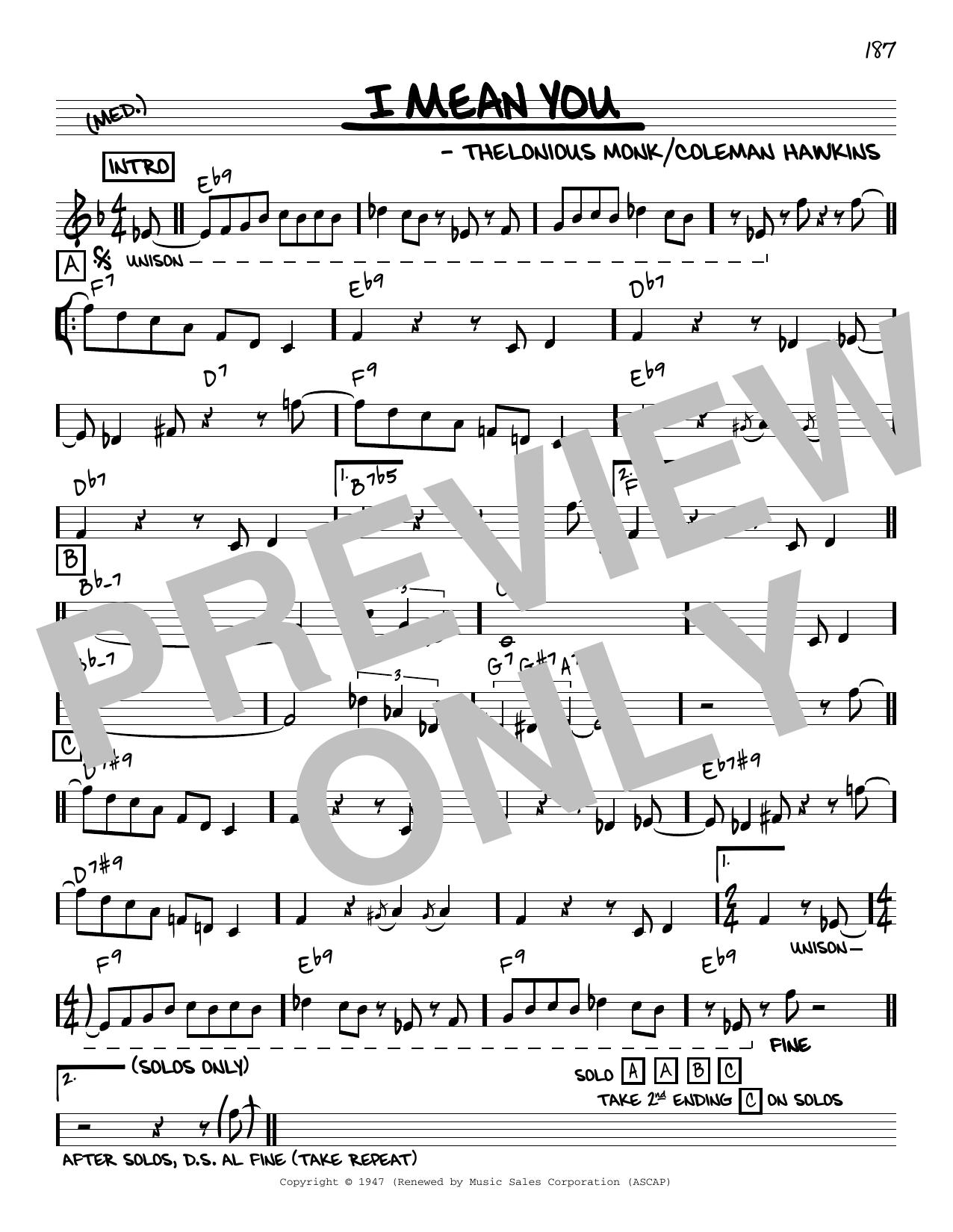 Thelonious Monk I Mean You [Reharmonized version] (arr. Jack Grassel) sheet music notes printable PDF score