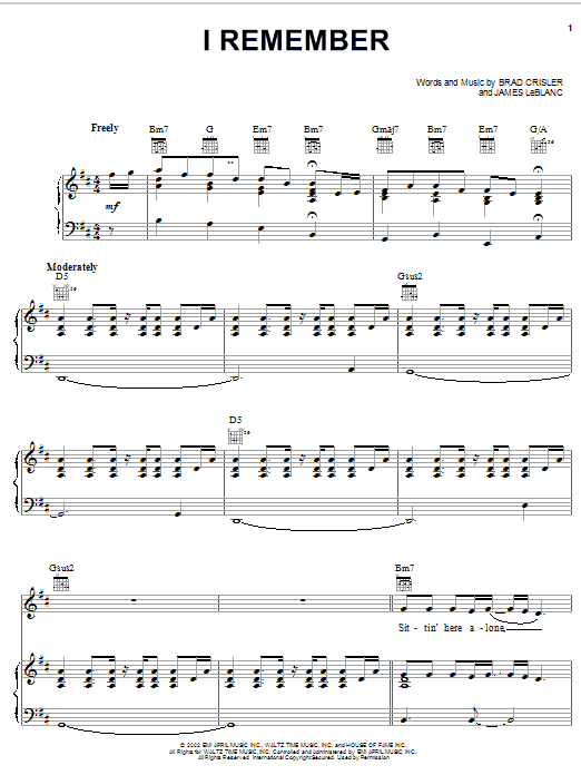 Kenny Chesney I Remember sheet music notes printable PDF score