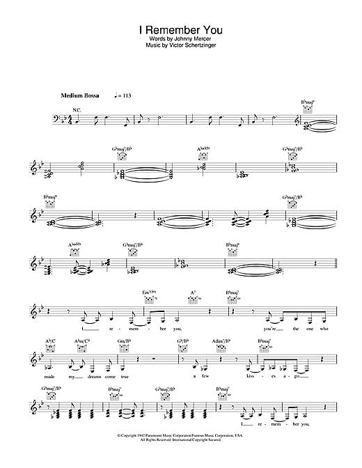 Diana Krall I Remember You sheet music notes printable PDF score