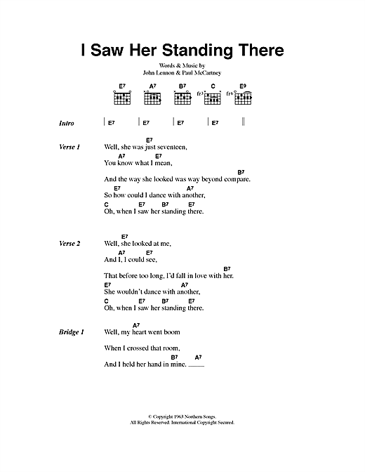 The Beatles I Saw Her Standing There sheet music notes printable PDF score