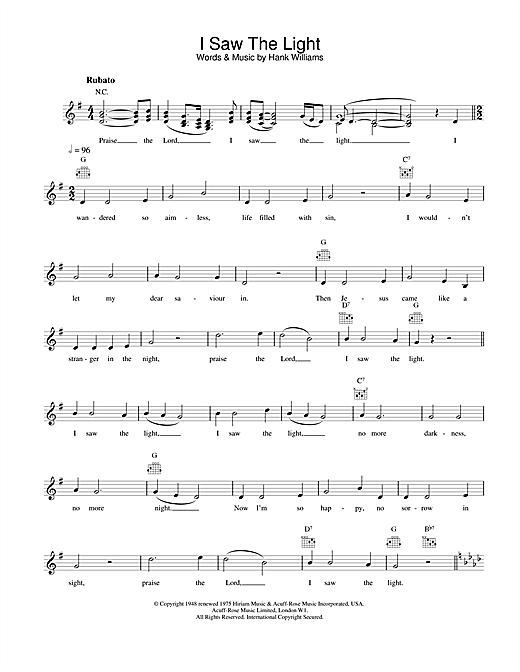 Hank Williams I Saw The Light sheet music notes printable PDF score