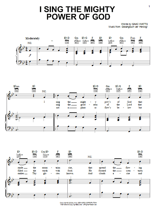 Isaac Watts I Sing The Mighty Power Of God sheet music notes printable PDF score