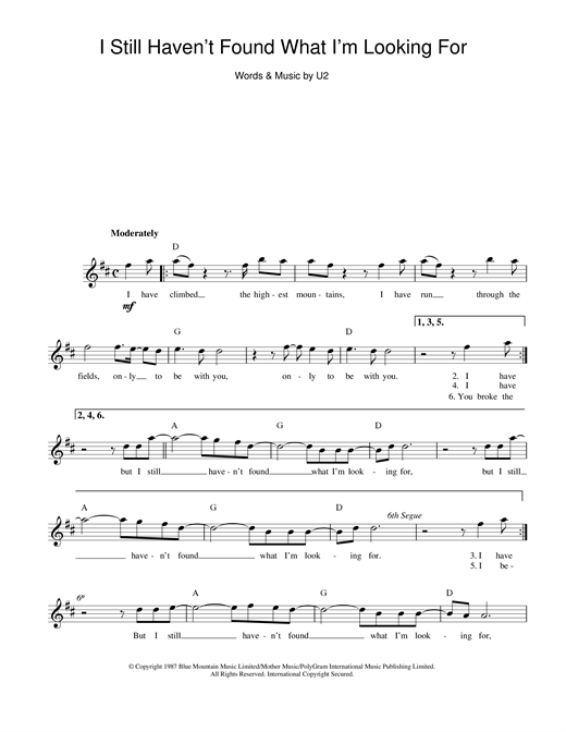 U2 I Still Haven't Found What I'm Looking For sheet music notes printable PDF score
