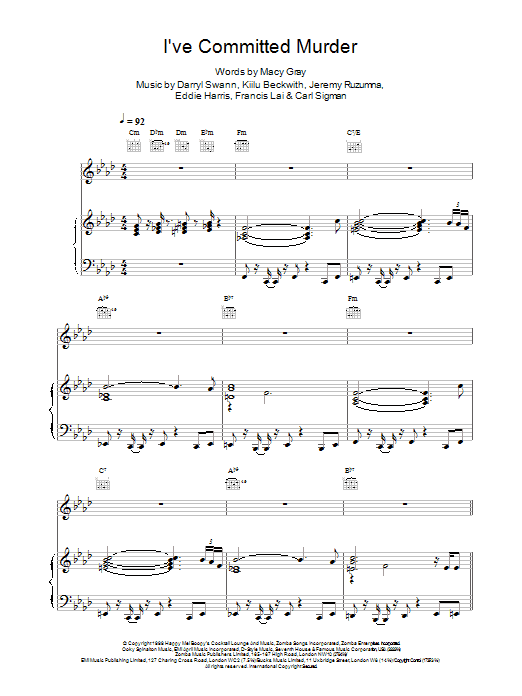 Macy Gray I've Committed Murder sheet music notes printable PDF score