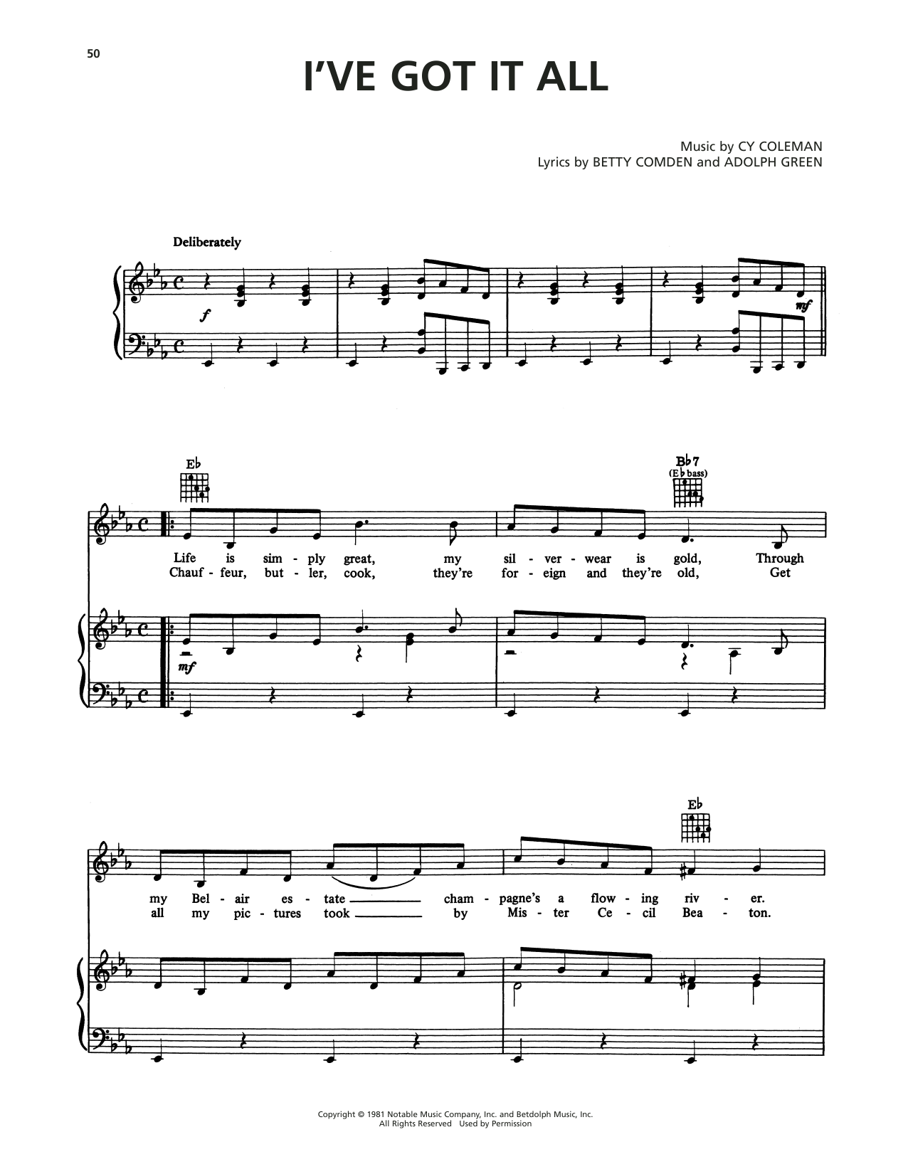 Cy Coleman I've Got It All (from On The Twentieth Century) sheet music notes printable PDF score