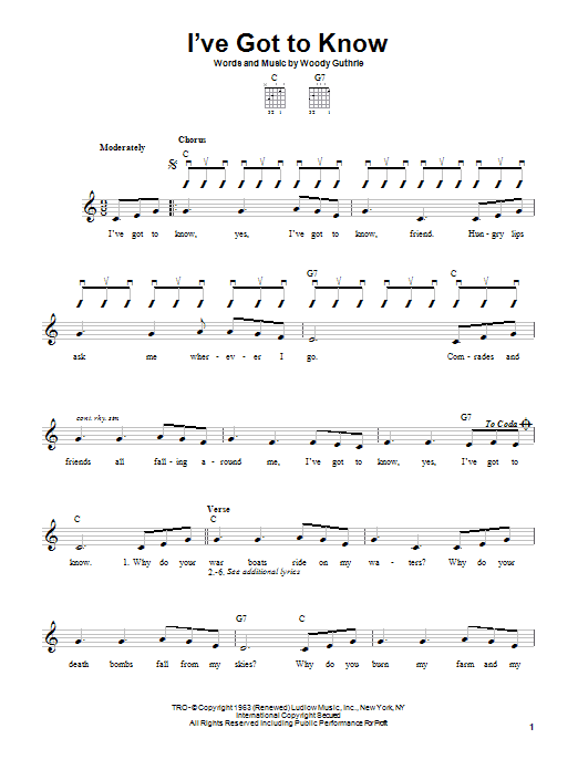 Woody Guthrie I've Got To Know sheet music notes printable PDF score